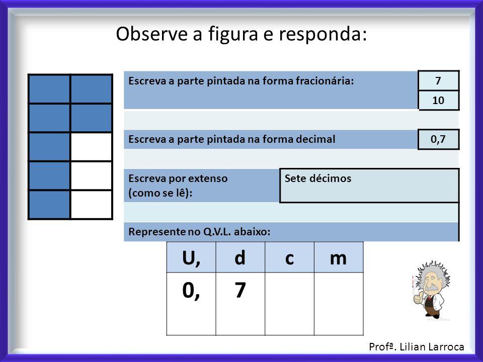 Observe a figura e responda: Escreva a parte pintada na forma fracionária:7 10 Escreva a parte pintada na forma decimal0,7 Escreva por extenso (como se lê): Sete décimos Represente no Q.V.L.