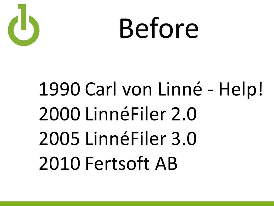 Before 1990 Carl von Linné - Help! 2000 LinnéFiler 2.0 2005 LinnéFiler 3.0 2010 Fertsoft AB