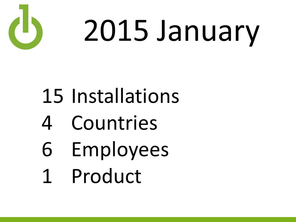 2015 January 15Installations 4Countries 6Employees 1Product