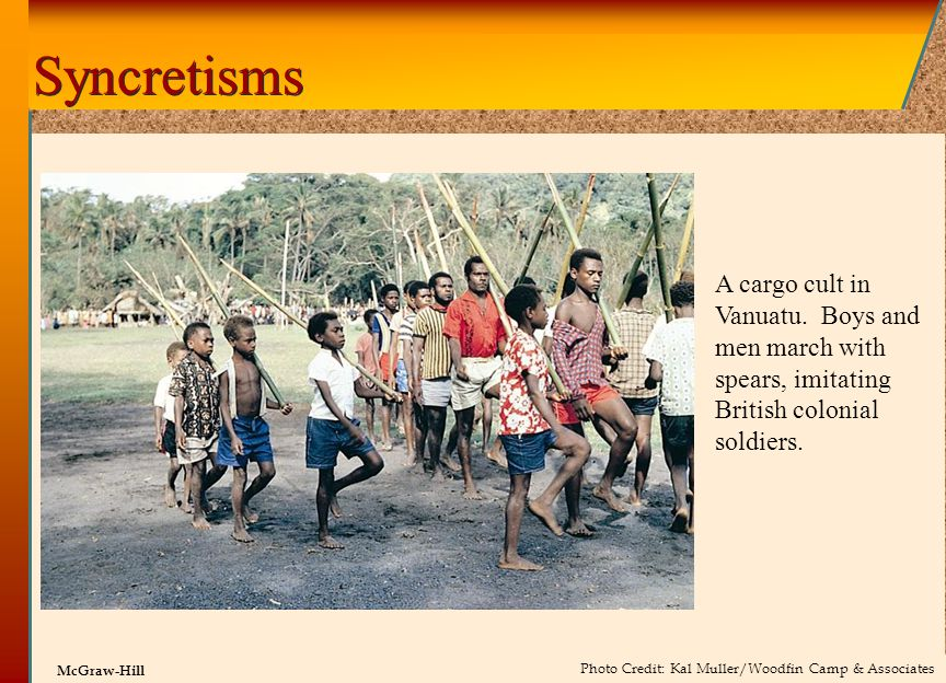 © 2002 by The McGraw-Hill Companies, Inc. All rights reserved. McGraw-Hill Syncretisms A cargo cult in Vanuatu. Boys and men march with spears, imitat