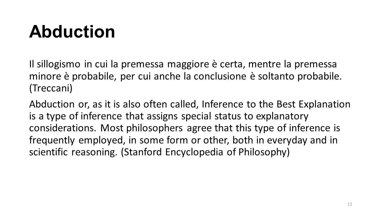 Abduction Il sillogismo in cui la premessa maggiore è certa, mentre la premessa minore è probabile, per cui anche la conclusione è soltanto probabile.