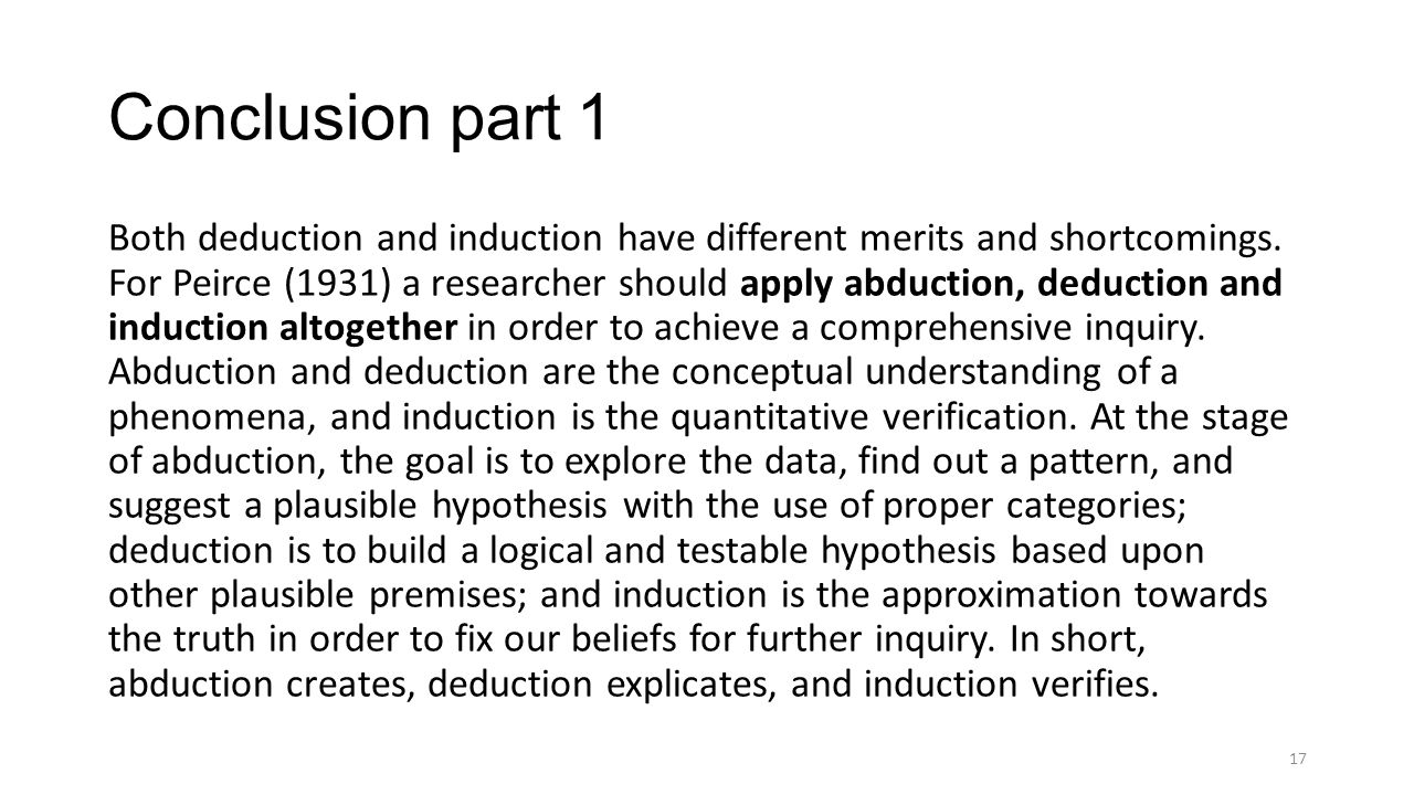 Conclusion part 1 Both deduction and induction have different merits and shortcomings.