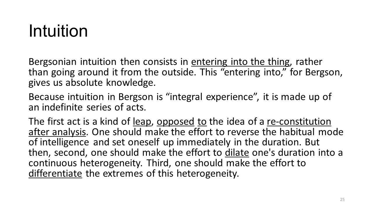 Intuition Bergsonian intuition then consists in entering into the thing, rather than going around it from the outside.