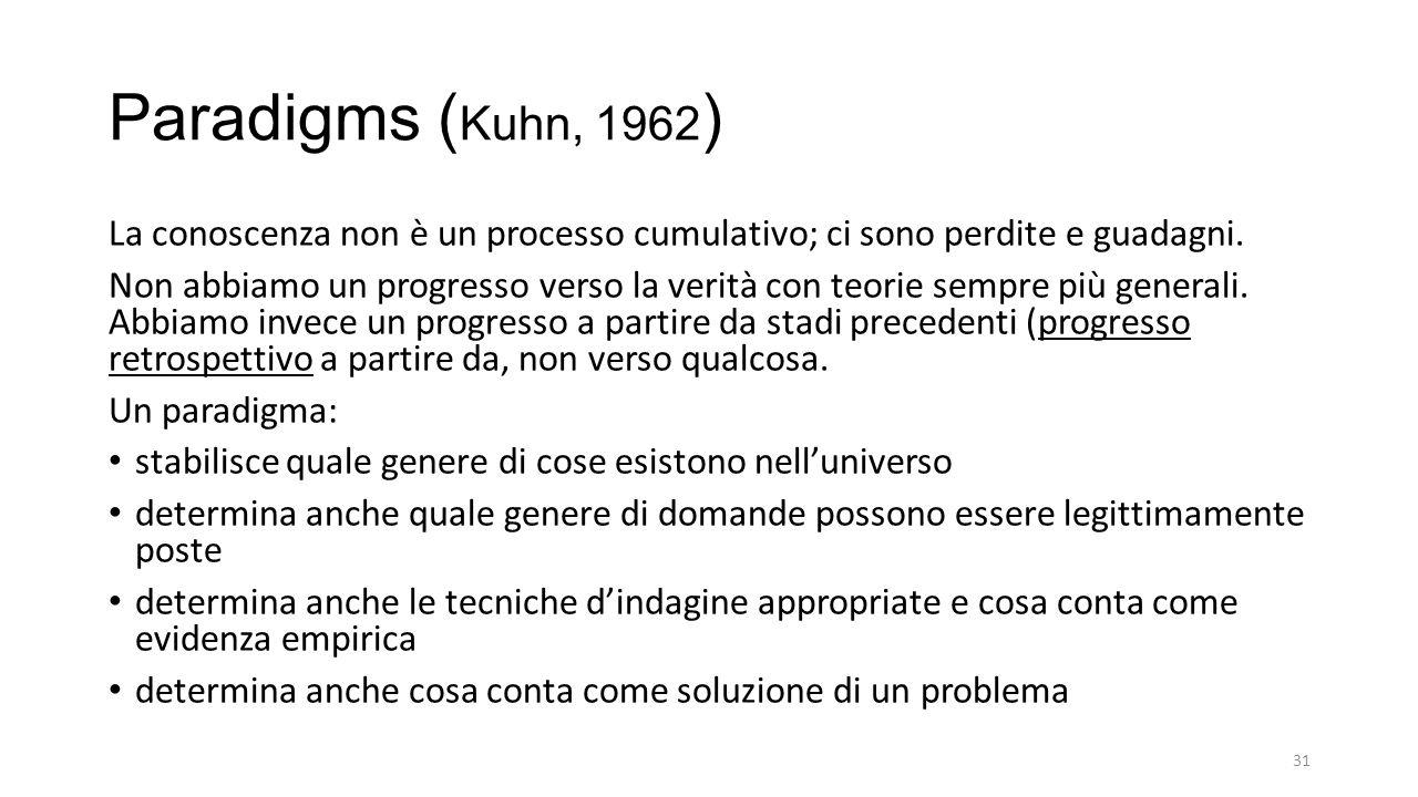 Paradigms ( Kuhn, 1962 ) La conoscenza non è un processo cumulativo; ci sono perdite e guadagni.