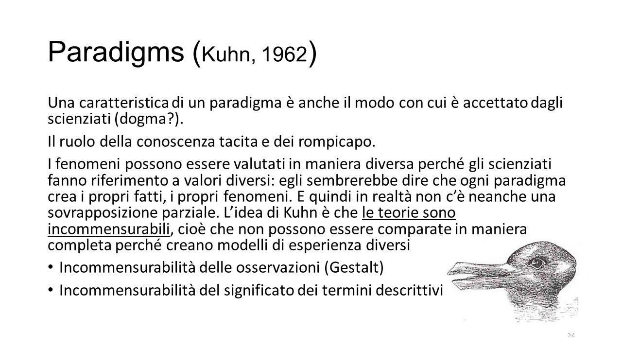 Paradigms ( Kuhn, 1962 ) Una caratteristica di un paradigma è anche il modo con cui è accettato dagli scienziati (dogma?).