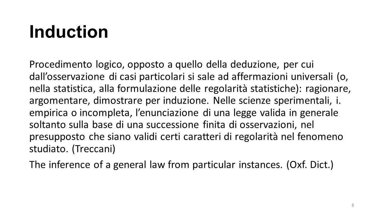 Induction Procedimento logico, opposto a quello della deduzione, per cui dall'osservazione di casi particolari si sale ad affermazioni universali (o, nella statistica, alla formulazione delle regolarità statistiche): ragionare, argomentare, dimostrare per induzione.