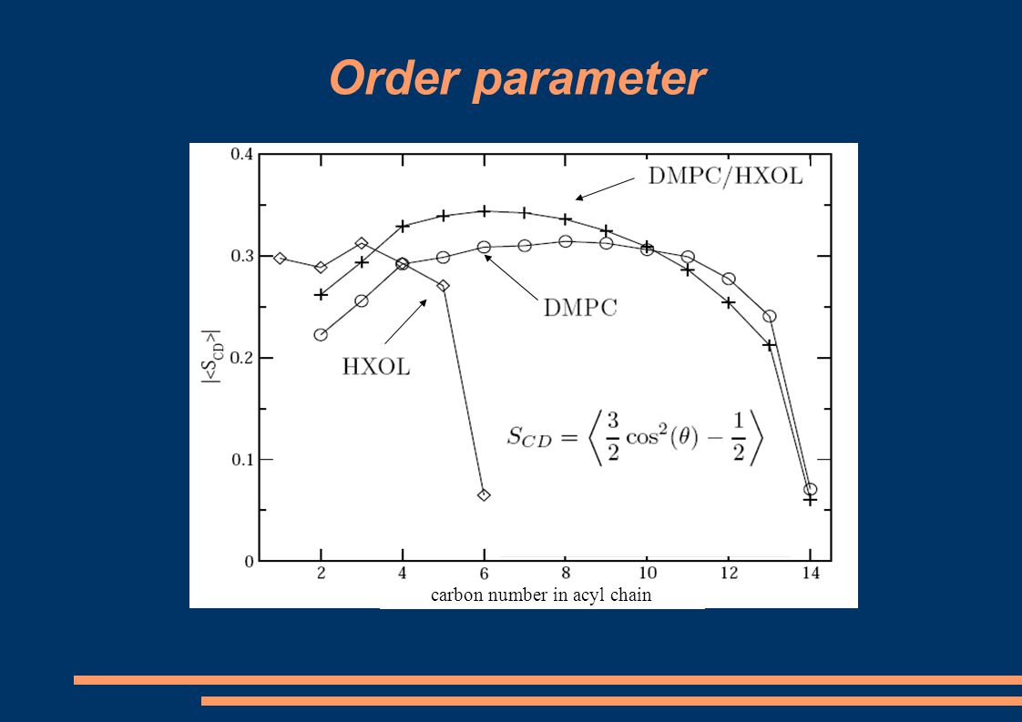 Order parameter carbon number in acyl chain