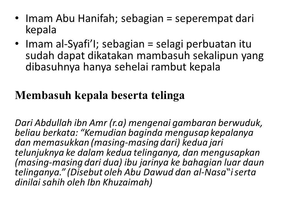 """Imam Abu Hanifah; sebagian = seperempat dari kepala Imam al-Syafi'I; sebagian = selagi perbuatan itu sudah dapat dikatakan mambasuh sekalipun yang dibasuhnya hanya sehelai rambut kepala Membasuh kepala beserta telinga Dari Abdullah ibn Amr (r.a) mengenai gambaran berwuduk, beliau berkata: Kemudian baginda mengusap kepalanya dan memasukkan (masing-masing dari) kedua jari telunjuknya ke dalam kedua telinganya, dan mengusapkan (masing-masing dari dua) ibu jarinya ke bahagian luar daun telinganya. (Disebut oleh Abu Dawud dan al-Nasa""""i serta dinilai sahih oleh Ibn Khuzaimah)"""