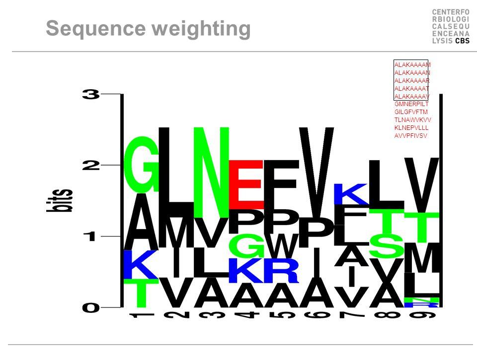 Sequence weighting ALAKAAAAM ALAKAAAAN ALAKAAAAR ALAKAAAAT ALAKAAAAV GMNERPILT GILGFVFTM TLNAWVKVV KLNEPVLLL AVVPFIVSV