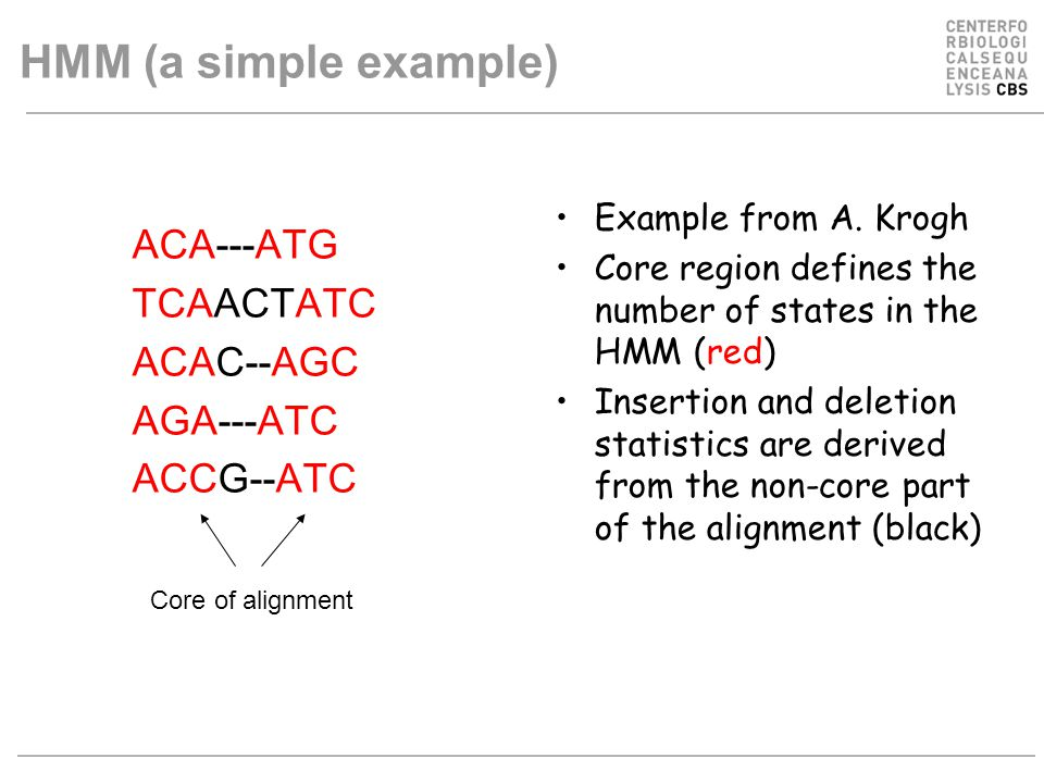 HMM (a simple example) ACA---ATG TCAACTATC ACAC--AGC AGA---ATC ACCG--ATC Example from A. Krogh Core region defines the number of states in the HMM (re