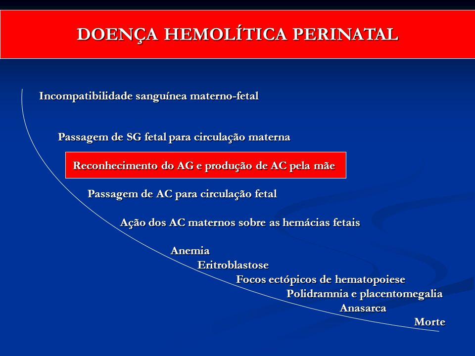 Incompatibilidade sanguínea materno-fetal Passagem de SG fetal para circulação materna Reconhecimento do AG e produção de AC pela mãe Reconhecimento d
