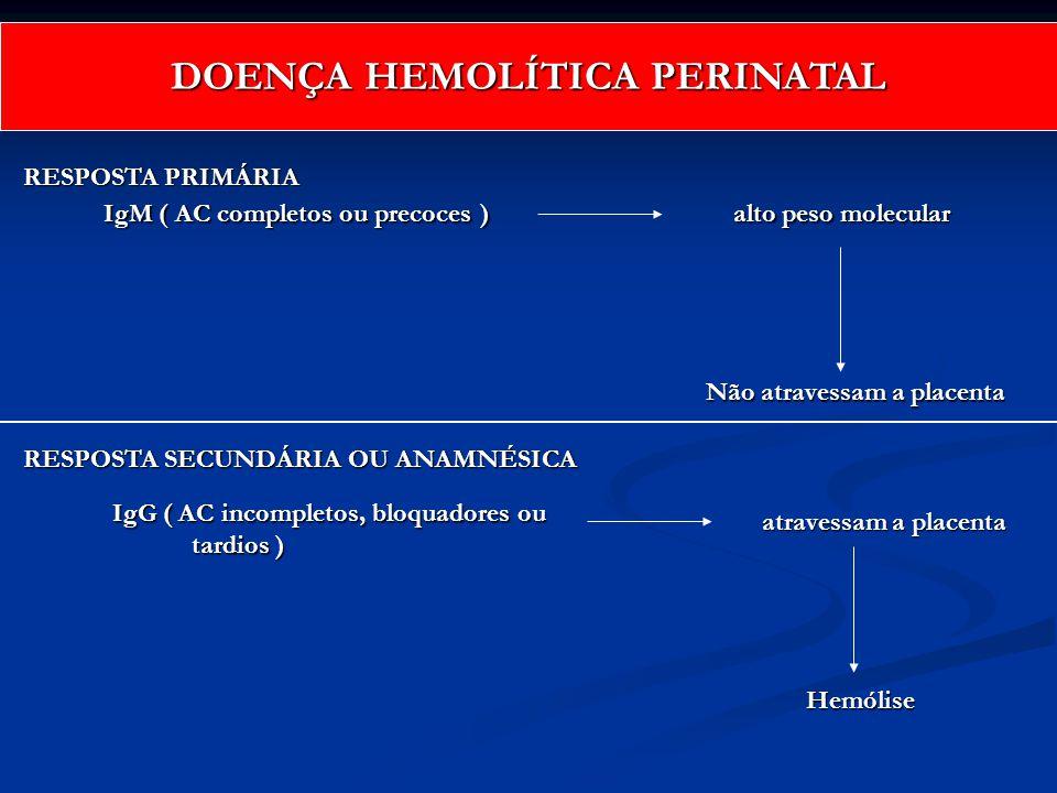 IgM ( AC completos ou precoces ) alto peso molecular Não atravessam a placenta IgG ( AC incompletos, bloquadores ou tardios ) tardios ) atravessam a p