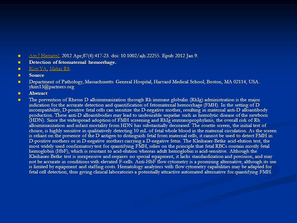 Am J Hematol. 2012 Apr;87(4):417-23. doi: 10.1002/ajh.22255. Epub 2012 Jan 9. Am J Hematol. 2012 Apr;87(4):417-23. doi: 10.1002/ajh.22255. Epub 2012 J