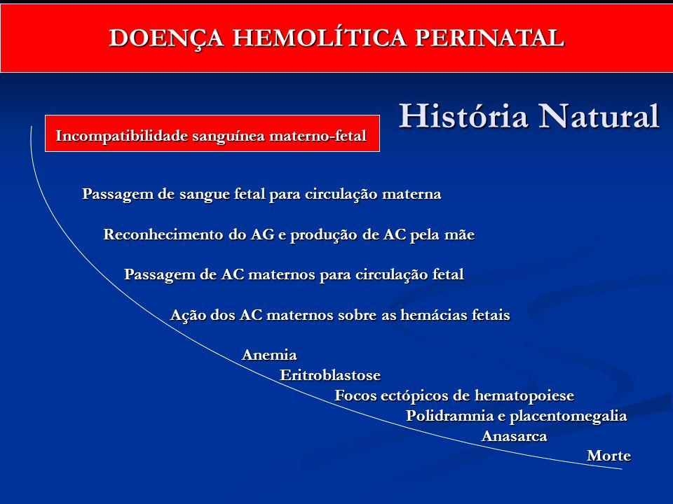História Natural História Natural Incompatibilidade sanguínea materno-fetal Passagem de sangue fetal para circulação materna Reconhecimento do AG e pr