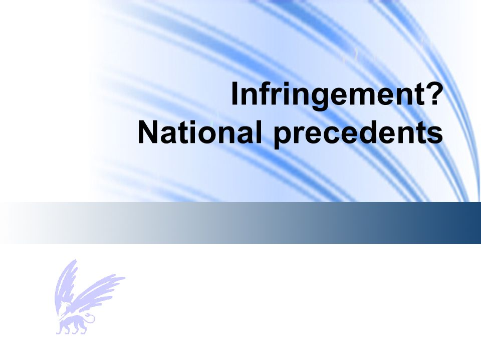 Infringement? National precedents