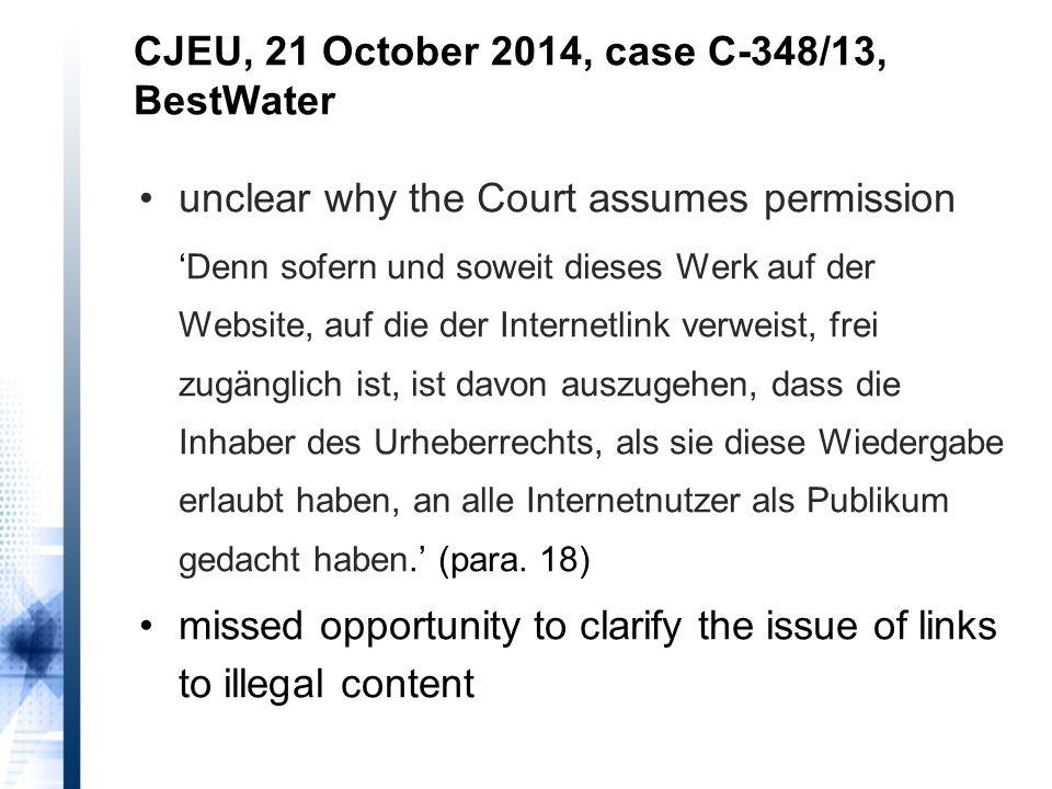 unclear why the Court assumes permission 'Denn sofern und soweit dieses Werk auf der Website, auf die der Internetlink verweist, frei zugänglich ist,