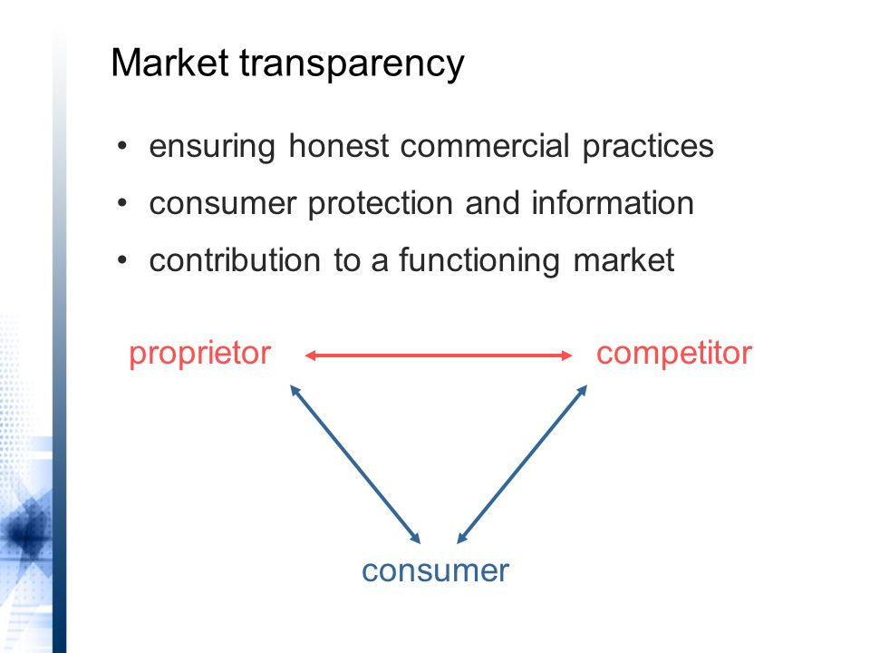 proprietorcompetitor consumer ensuring honest commercial practices consumer protection and information contribution to a functioning market Market transparency