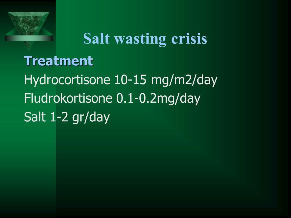 Salt wasting crisis Treatment Hydrocortisone 10-15 mg/m2/day Fludrokortisone 0.1-0.2mg/day Salt 1-2 gr/day