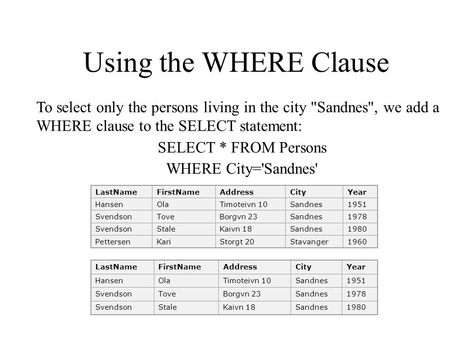 Using the WHERE Clause To select only the persons living in the city Sandnes , we add a WHERE clause to the SELECT statement: SELECT * FROM Persons WHERE City= Sandnes LastNameFirstNameAddressCityYear HansenOlaTimoteivn 10Sandnes1951 SvendsonToveBorgvn 23Sandnes1978 SvendsonStaleKaivn 18Sandnes1980 PettersenKariStorgt 20Stavanger1960 LastNameFirstNameAddressCityYear HansenOlaTimoteivn 10Sandnes1951 SvendsonToveBorgvn 23Sandnes1978 SvendsonStaleKaivn 18Sandnes1980