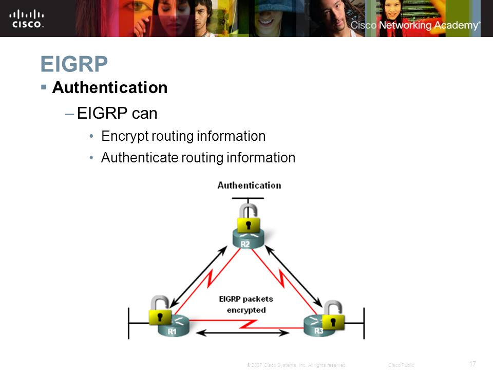 17 © 2007 Cisco Systems, Inc. All rights reserved.Cisco Public EIGRP  Authentication –EIGRP can Encrypt routing information Authenticate routing info