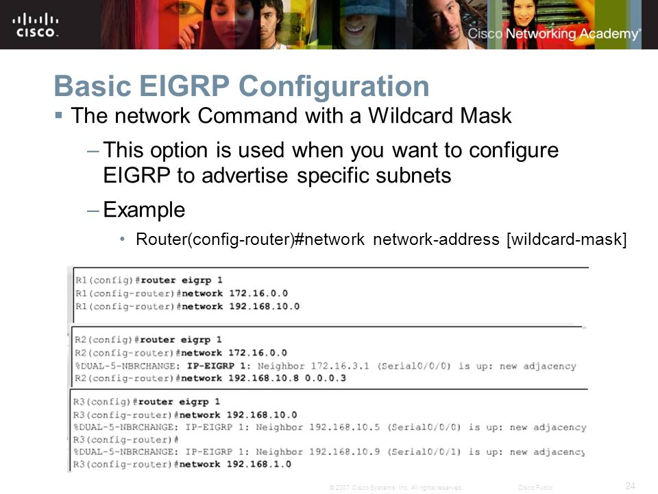 24 © 2007 Cisco Systems, Inc. All rights reserved.Cisco Public Basic EIGRP Configuration  The network Command with a Wildcard Mask –This option is us