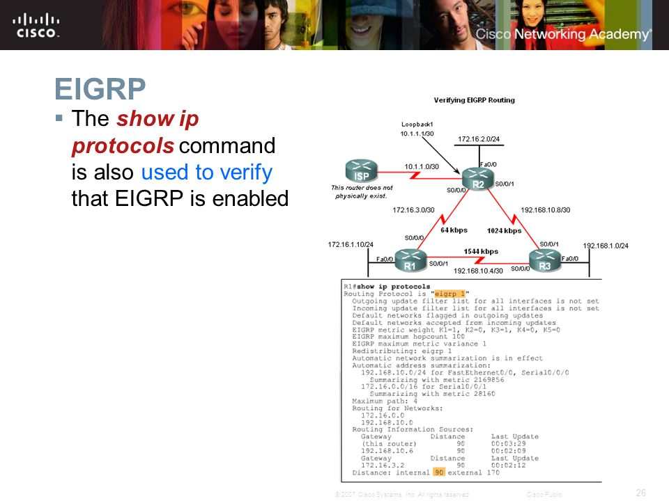26 © 2007 Cisco Systems, Inc. All rights reserved.Cisco Public EIGRP  The show ip protocols command is also used to verify that EIGRP is enabled