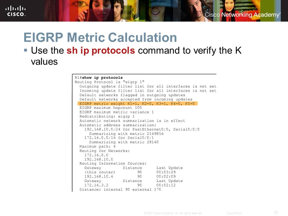 31 © 2007 Cisco Systems, Inc. All rights reserved.Cisco Public EIGRP Metric Calculation  Use the sh ip protocols command to verify the K values