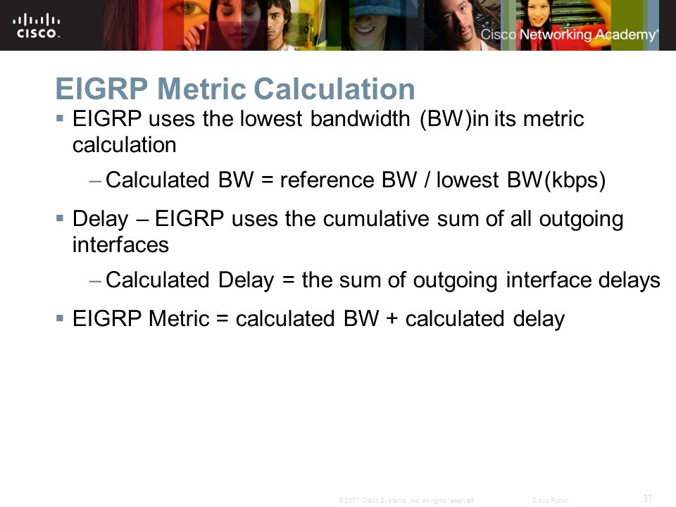 37 © 2007 Cisco Systems, Inc. All rights reserved.Cisco Public EIGRP Metric Calculation  EIGRP uses the lowest bandwidth (BW)in its metric calculatio