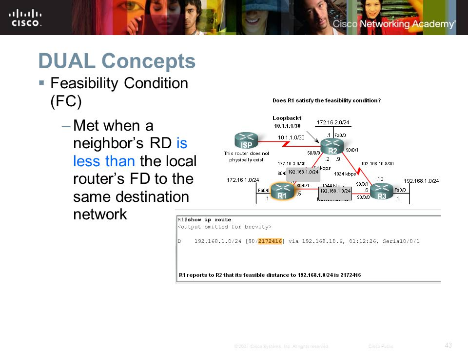 43 © 2007 Cisco Systems, Inc. All rights reserved.Cisco Public DUAL Concepts  Feasibility Condition (FC) –Met when a neighbor's RD is less than the l