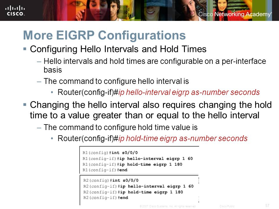 57 © 2007 Cisco Systems, Inc. All rights reserved.Cisco Public More EIGRP Configurations  Configuring Hello Intervals and Hold Times –Hello intervals
