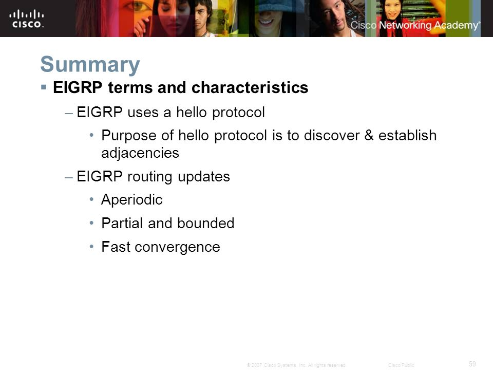 59 © 2007 Cisco Systems, Inc. All rights reserved.Cisco Public Summary  EIGRP terms and characteristics –EIGRP uses a hello protocol Purpose of hello
