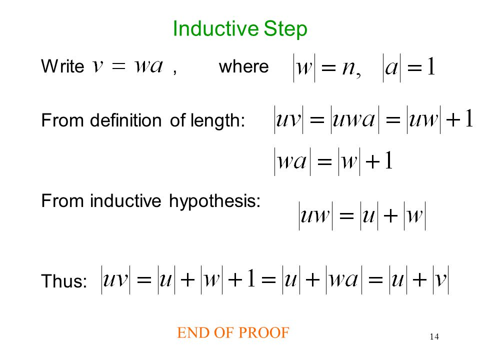 14 Inductive Step Write, where From definition of length: From inductive hypothesis: Thus: END OF PROOF