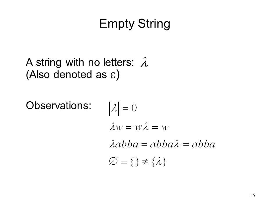 15 Empty String A string with no letters: (Also denoted as  ) Observations: