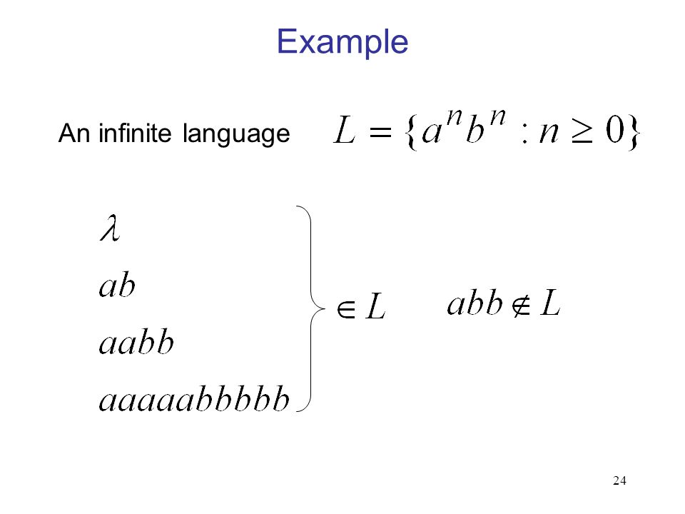 24 Example An infinite language