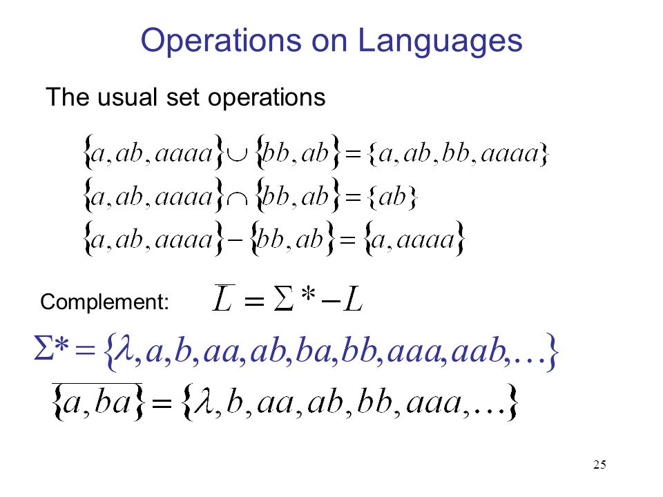 25 Operations on Languages The usual set operations  ,,,,,,,,,*aabaaabbbaabaaba  Complement: