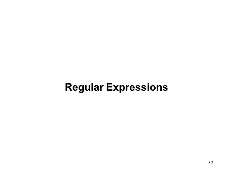 32 Regular Expressions