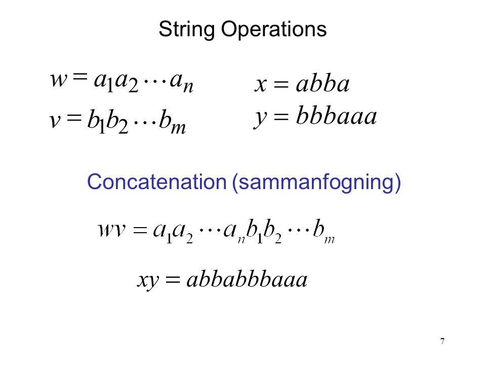 7 String Operations m n bbbv aaaw   21 21   y  bbbaaa x  abba Concatenation (sammanfogning) xy  abbabbbaaa