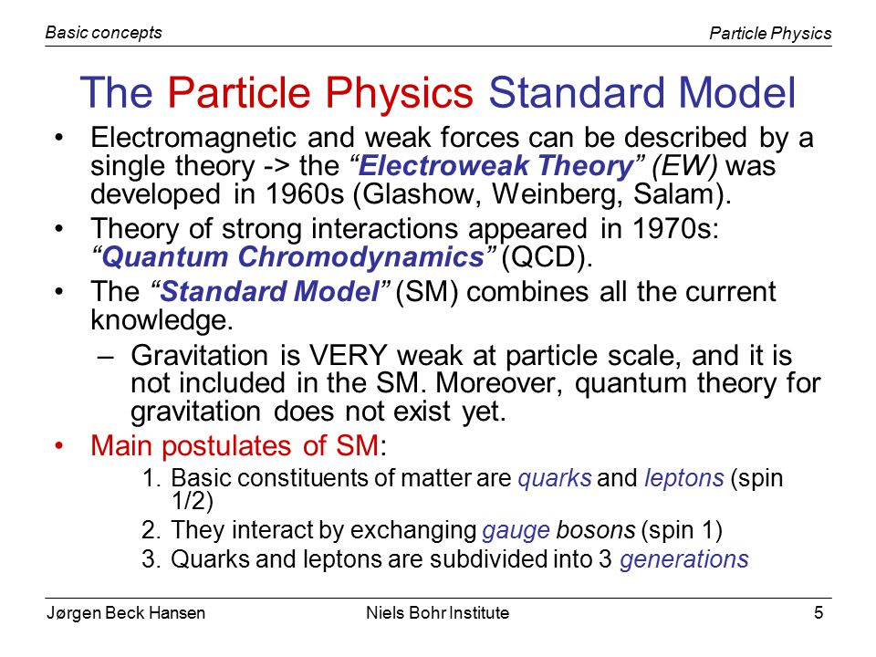 Jørgen Beck Hansen Particle Physics Basic concepts Niels Bohr Institute26 Which reduces to the known electrostatic potential for M X = 0: In Yukawa theory, g is analogous to the electric charge in QED, and the analogue of α em is An interesting case happens in the limit of very large M X, where the potential point-like.