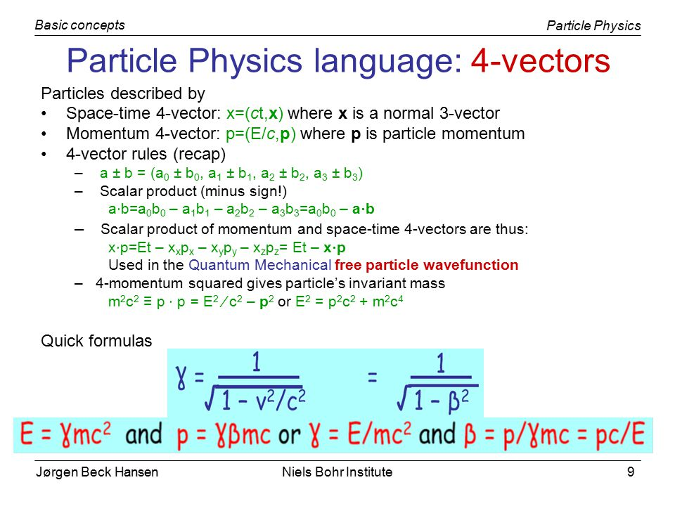 Jørgen Beck Hansen Particle Physics Basic concepts Niels Bohr Institute9 Particle Physics language: 4-vectors Particles described by Space-time 4-vector: x=(ct,x) where x is a normal 3-vector Momentum 4-vector: p=(E/c,p) where p is particle momentum 4-vector rules (recap) – a ± b = (a 0 ± b 0, a 1 ± b 1, a 2 ± b 2, a 3 ± b 3 ) – Scalar product (minus sign!) a ⋅ b=a 0 b 0 – a 1 b 1 – a 2 b 2 – a 3 b 3 =a 0 b 0 – a ⋅ b – Scalar product of momentum and space-time 4-vectors are thus: x ⋅ p=Et – x x p x – x y p y – x z p z = Et – x ⋅ p Used in the Quantum Mechanical free particle wavefunction –4-momentum squared gives particle's invariant mass m 2 c 2 ≡ p ⋅ p = E 2 ⁄ c 2 – p 2 or E 2 = p 2 c 2 + m 2 c 4 Quick formulas