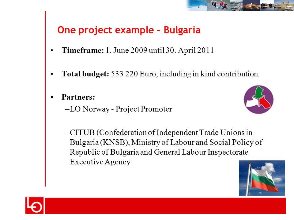 Tittel på foredrag - kan endres i vis > topptekstWarshaw 14.06.2006 side 10 One project example – Bulgaria Timeframe: 1.