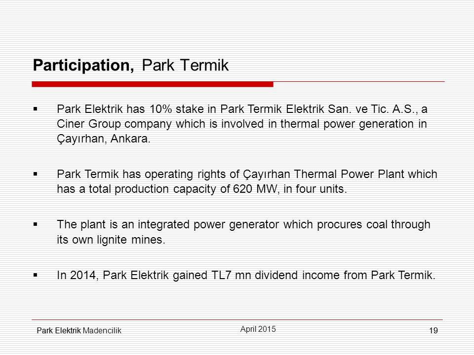 Park Elektrik19 Participation, Park Termik  Park Elektrik has 10% stake in Park Termik Elektrik San.