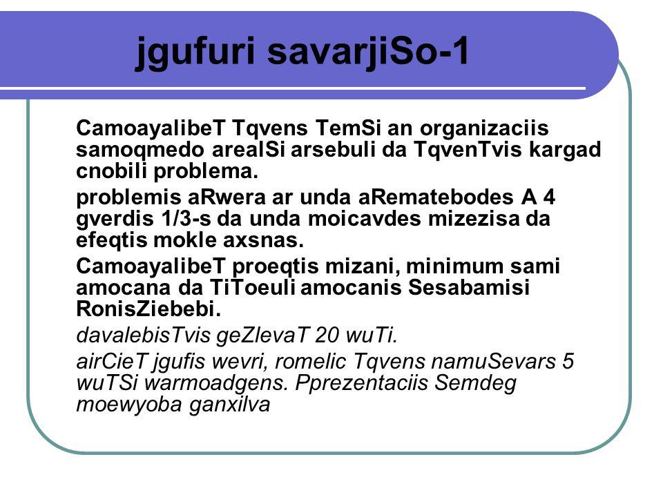 jgufuri savarjiSo-1 CamoayalibeT Tqvens TemSi an organizaciis samoqmedo arealSi arsebuli da TqvenTvis kargad cnobili problema.