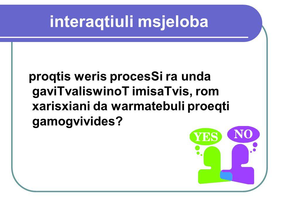 interaqtiuli msjeloba proqtis weris procesSi ra unda gaviTvaliswinoT imisaTvis, rom xarisxiani da warmatebuli proeqti gamogvivides?