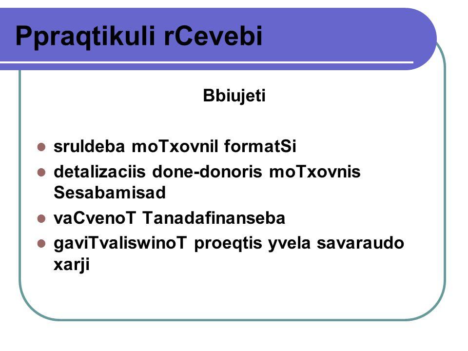 Ppraqtikuli rCevebi Bbiujeti sruldeba moTxovnil formatSi detalizaciis done-donoris moTxovnis Sesabamisad vaCvenoT Tanadafinanseba gaviTvaliswinoT proeqtis yvela savaraudo xarji