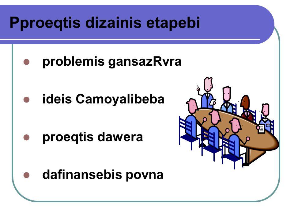 Pproeqtis dizainis etapebi problemis gansazRvra ideis Camoyalibeba proeqtis dawera dafinansebis povna