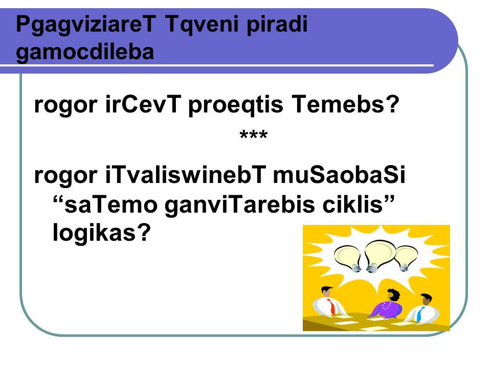 PgagviziareT Tqveni piradi gamocdileba rogor irCevT proeqtis Temebs.