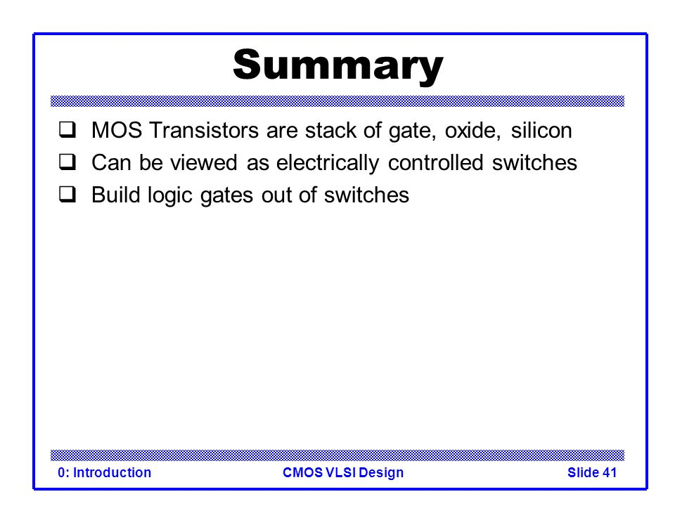 CMOS VLSI Design0: IntroductionSlide 40 3-input NAND Gate  Y pulls low if ALL inputs are 1  Y pulls high if ANY input is 0