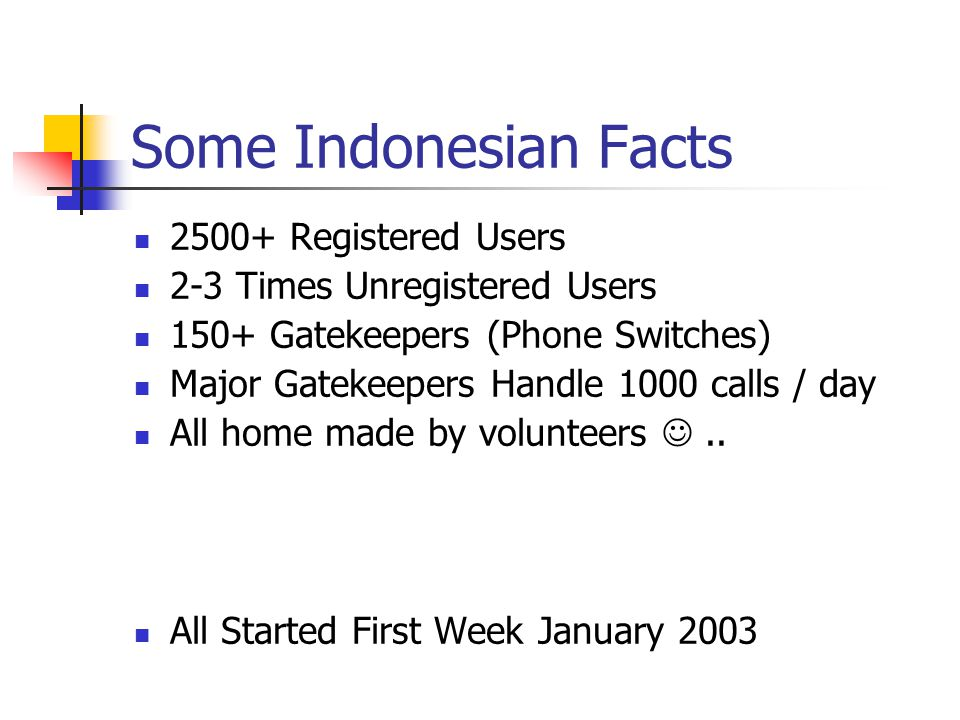 Some Indonesian Facts 2500+ Registered Users 2-3 Times Unregistered Users 150+ Gatekeepers (Phone Switches) Major Gatekeepers Handle 1000 calls / day All home made by volunteers..