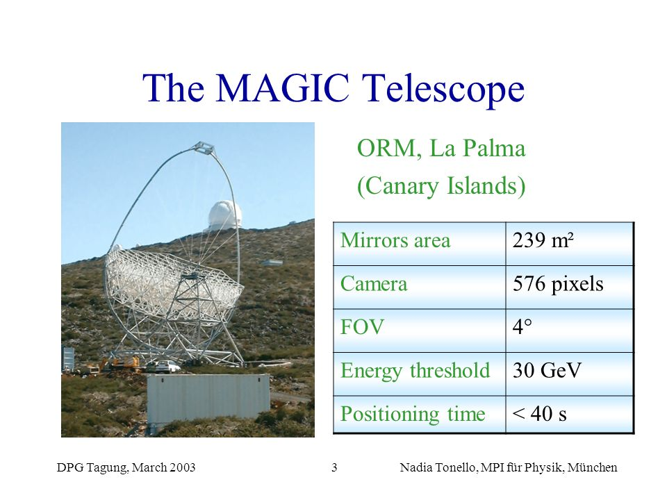 DPG Tagung, March 2003Nadia Tonello, MPI für Physik, München3 The MAGIC Telescope ORM, La Palma (Canary Islands) Mirrors area239 m² Camera576 pixels F