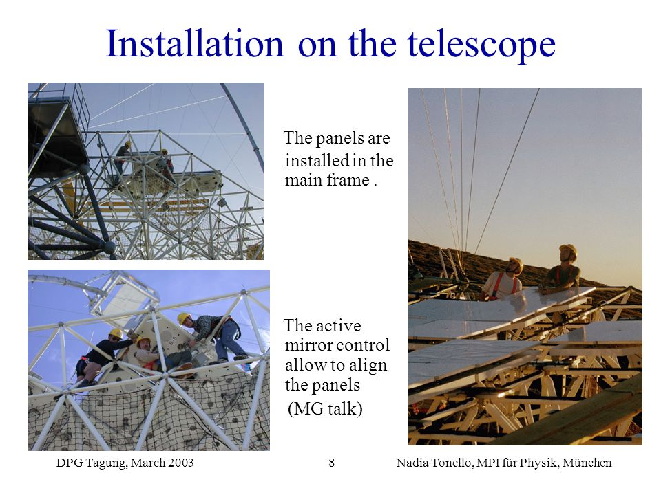 DPG Tagung, March 2003Nadia Tonello, MPI für Physik, München8 Installation on the telescope The panels are installed in the main frame. The active mir